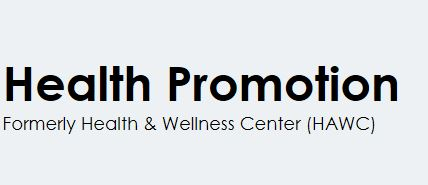 A graphic representing the Health Promotion agency, formerly known as the Health and Wellness Center.